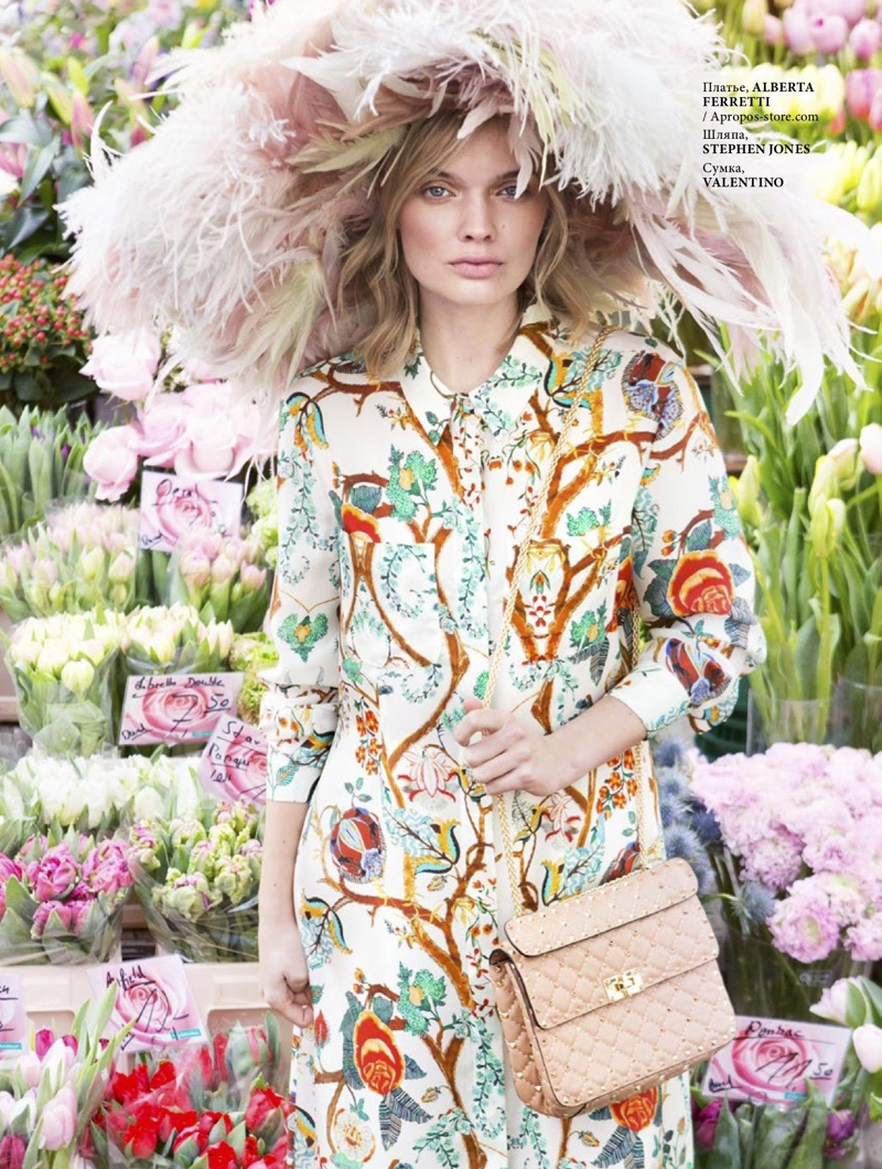 Jane Van Kuijck Blooms in Floral Prints for L'Officiel Baltics