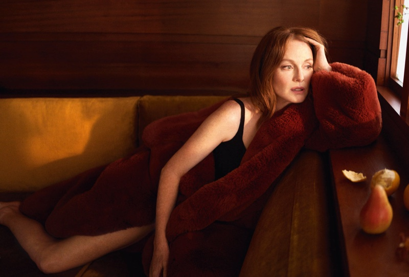 Actress Julianne Moore wears a faux fur coat