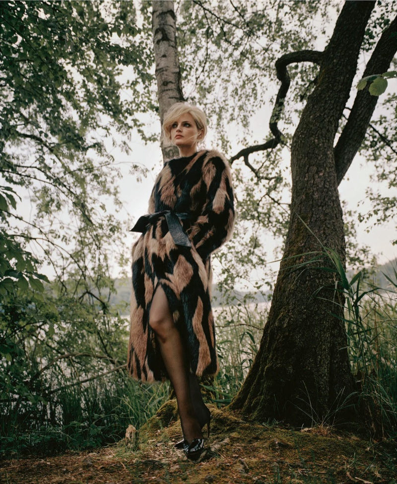 Guinevere van Seenus Wears Luxe Faux Fur for PORTER Magazine