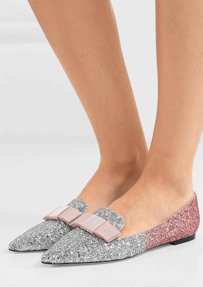 Jimmy Choo Gala Glittered Leather Flats $595
