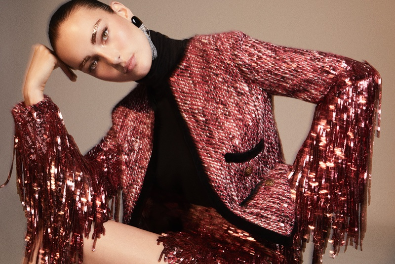 Julia Bergshoeff Poses in Party Styles for Vogue Spain