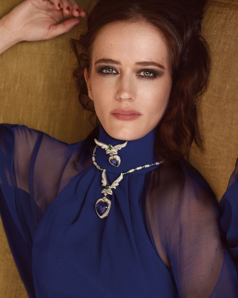 Ready for her closeup, Eva Green looks diaphanous in blue