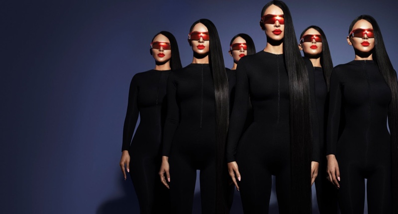 Kim Kardashian & An Army of Lookalikes Front Sunglasses Campaign