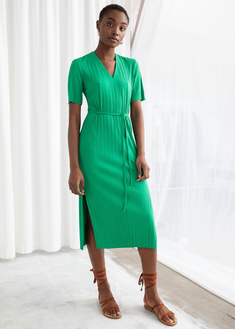& Other Stories Belted Plissé Pleated Midi Dress $35 (previously $69)