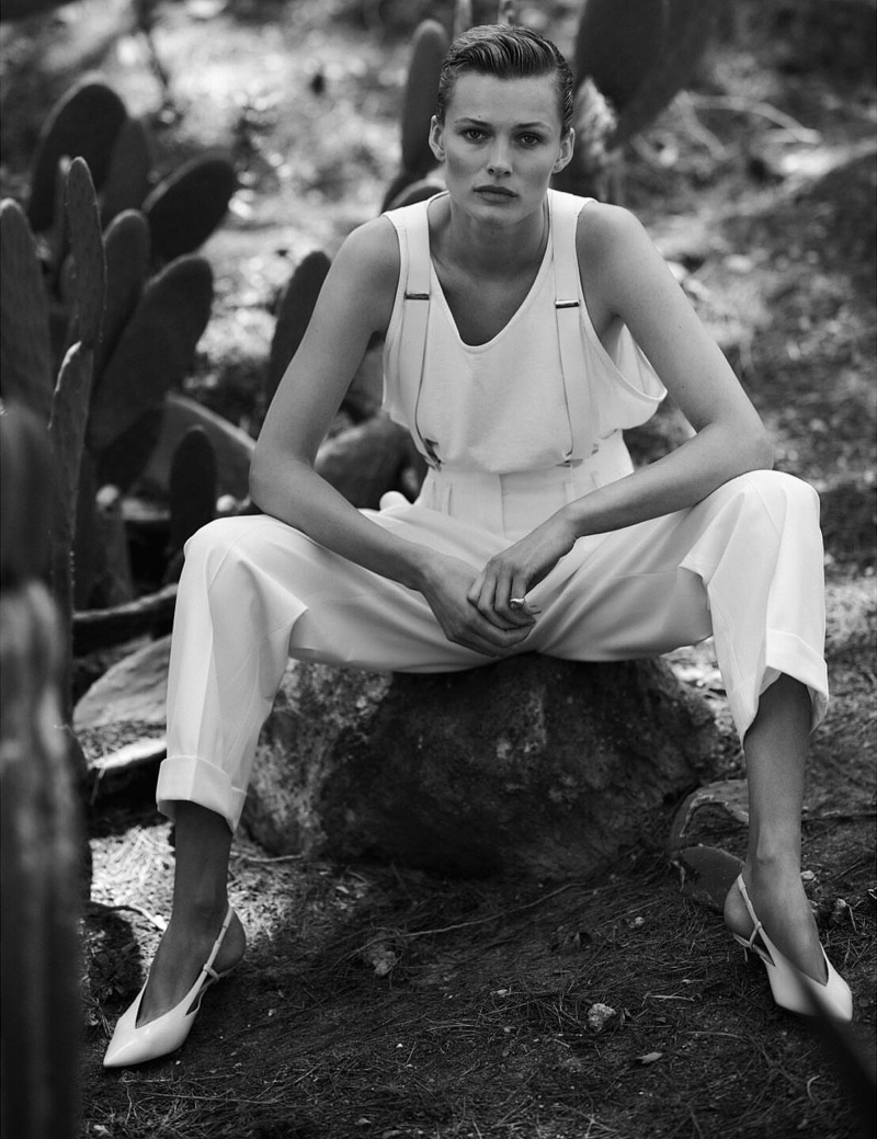 Edita Vilkeviciute Tries On Sleek Summer Styles for Vogue Poland
